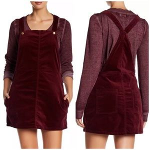 Abound Maroon Velveteen Overall Mini Dress